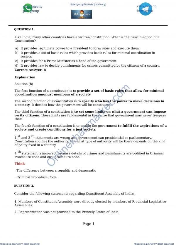 IAS Baba r Prelims 2019 Test 1 Ans