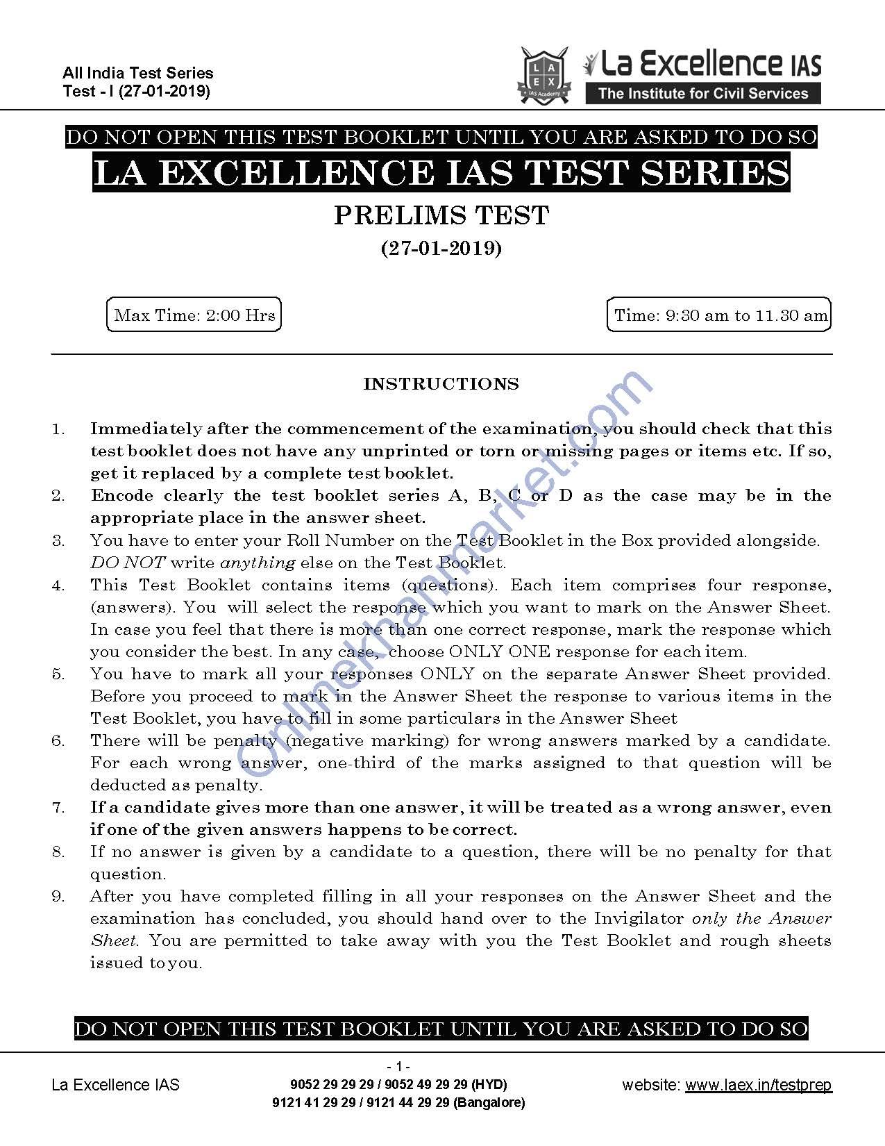 LA EXCELLENCE IAS Prelims Test Series Free 2019